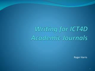 Writing for  ICT4D Academic  Journals
