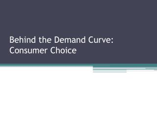 Behind  the Demand Curve: Consumer Choice