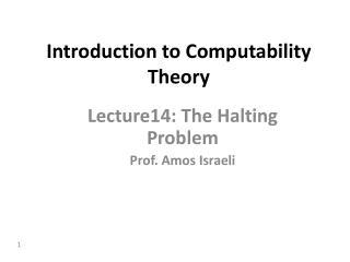 Introduction to Computability Theory
