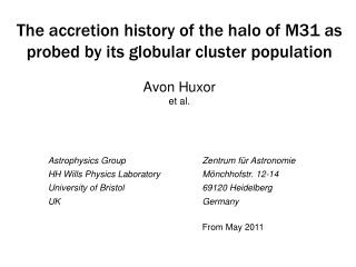 Astrophysics Group HH Wills Physics Laboratory University of Bristol UK