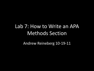 Lab  7: How to Write an APA  Methods Section