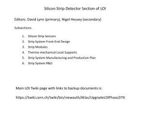 Silicon Strip Detector Section of LOI