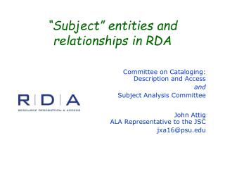 """Subject"" entities and relationships in RDA"