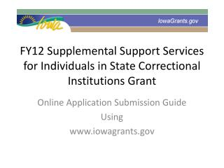 FY12 Supplemental Support Services for Individuals in State Correctional Institutions Grant
