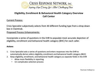 Eligibility, Enrollment & Behavioral Health Category Overview Call Center
