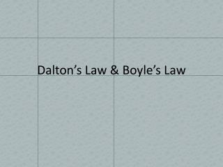 Dalton's Law & Boyle's  Law
