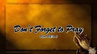 Don�t Forget to Pray Luke 18:1-8