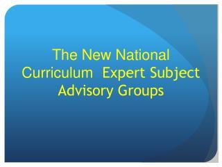 The New  National Curriculum  Expert Subject Advisory Groups
