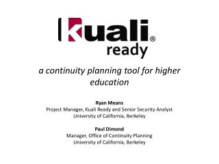 a continuity planning tool for higher education