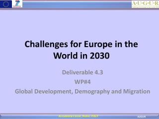 Challenges for Europe in the World in 2030