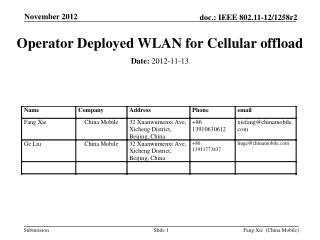 Operator Deployed WLAN for Cellular offload