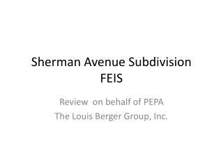 Sherman Avenue Subdivision FEIS