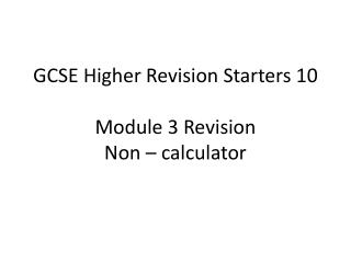 Module 3 Revision
