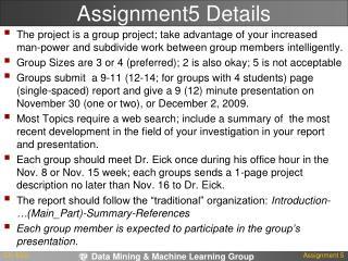 Assignment5 Details