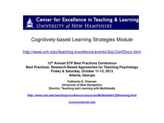 Cognitively-based  Learning Strategies Module