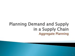 Planning Demand and Supply in a Supply Chain Aggregate Planning