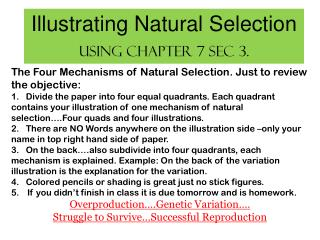 Illustrating Natural Selection  Using Chapter 7 sec 3.