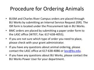 Procedure for Ordering Animals