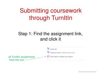 Submitting coursework through  TurnItIn