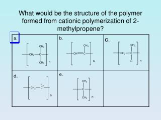 What would be the structure of the polymer formed from cationic polymerization of 2-methylpropene?