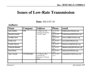 Issues of Low-Rate  Transmission
