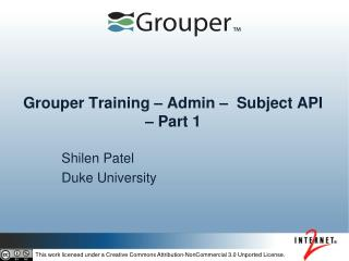 Grouper Training – Admin –  Subject API – Part 1