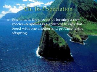 Ch. 16-3 Speciation