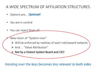 Options are� You  are in control You can reject them  all New vision of �System-ness�