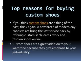 Top reasons for buying custom shoes