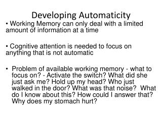 Developing Automaticity