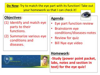 Objectives : Identify and match eye parts to their functions.