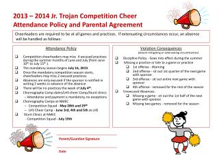 2013 – 2014 Jr. Trojan Competition Cheer  Attendance Policy and Parental Agreement