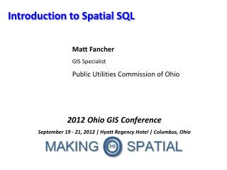 Introduction to Spatial SQL