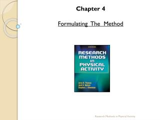 Chapter  4 Formulating  The  Method