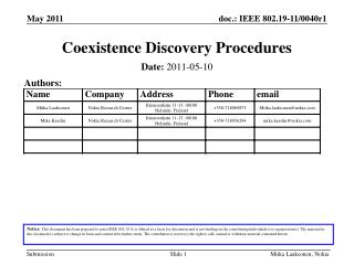 Coexistence Discovery Procedures