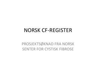 NORSK CF-REGISTER