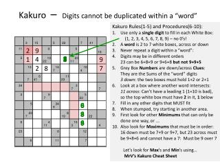"Kakuro –   Digits  cannot be  duplicated within a ""word"""