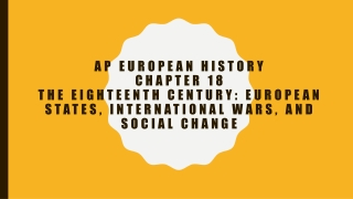 A.P. European History The Enlightenment and Eighteenth Century Thought