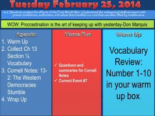 Tuesday February 25, 2014