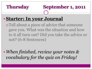 Thursday  September 1, 2011