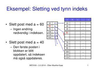 Eksempel: Sletting ved tynn indeks