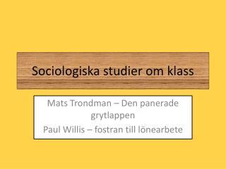 Sociologiska studier om klass