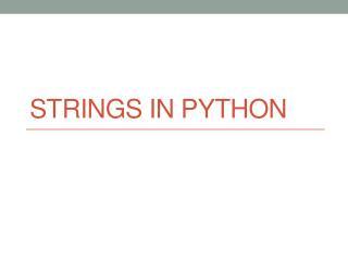 Strings in Python