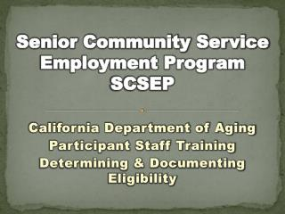 Senior Community Service Employment Program SCSEP