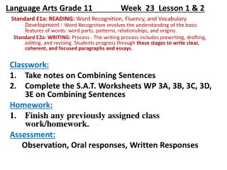 Language Arts Grade 11              Week   23   Lesson 1 & 2