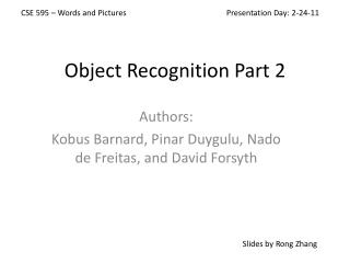 Object Recognition Part 2