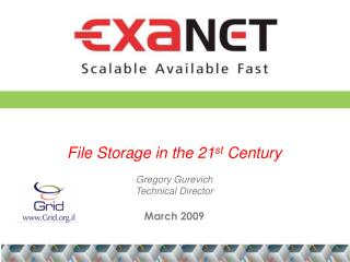File Storage in the 21 st  Century Gregory Gurevich Technical Director March 2009