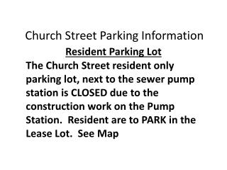 Church Street Parking Information