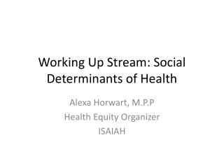 Working Up Stream: Social Determinants of Health