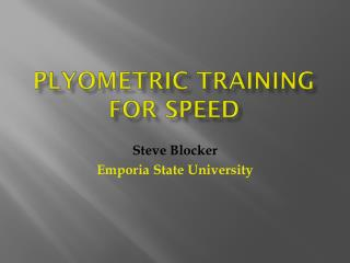 PlyOmetric  Training for speed